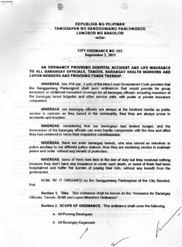 City Ordinance No. 552 - Bacolod City