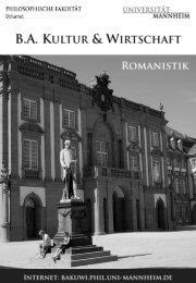 Romanistik - Bachelor Kultur und Wirtschaft - Universität Mannheim
