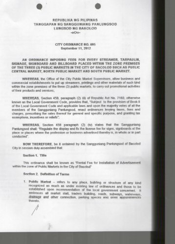 City Ordinance No. 605 - Bacolod City