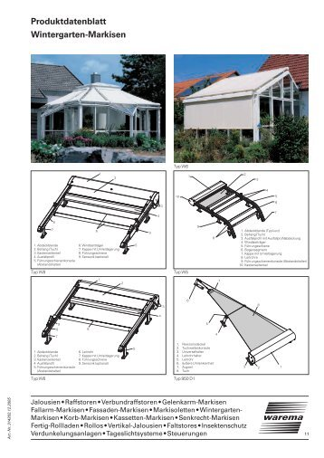Wintergarten-Markisen Produktdatenblatt - Balkon-Zaun.de