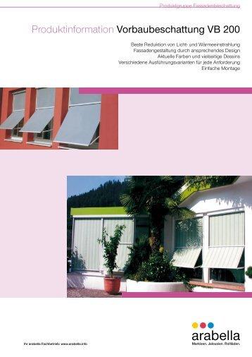 Produktinformation Vorbaubeschattung VB 200 - Balkon-Zaun.de