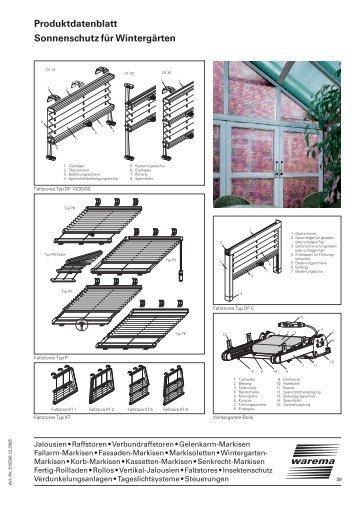 Sonnenschutz für Wintergärten Produktdatenblatt - Balkon-Zaun.de