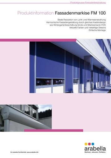Produktinformation Fassadenmarkise FM 100 - Balkon-Zaun.de