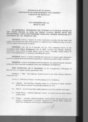 City Ordinance No. 531 - Bacolod City
