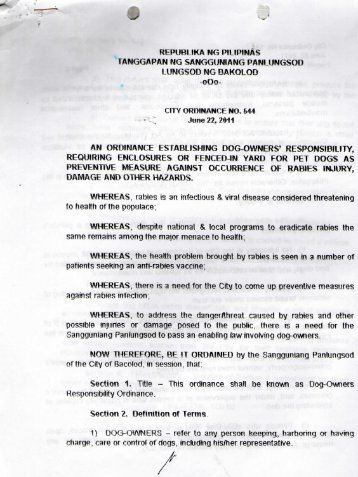 City Ordinance No. 544 - Bacolod City