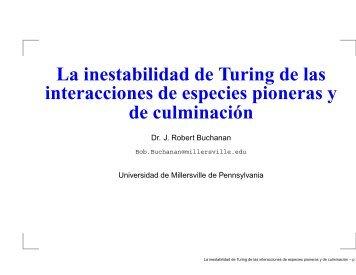 La inestabilidad de Turing de las interacciones de especies ...