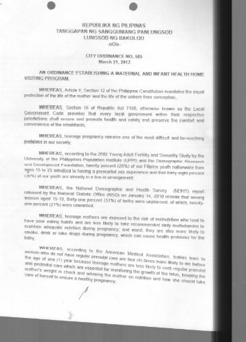 City Ordinance No. 585 - Bacolod City