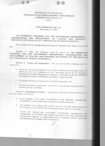 City Ordinance No 618 - Bacolod City
