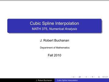 Cubic Spline Interpolation - MATH 375, Numerical Analysis