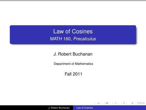 Law Of Cosines Math 160 Precalculus
