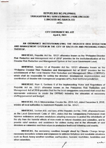 City Ordinance No. 532 - Bacolod City