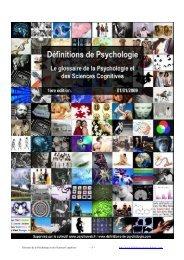 Glossaire de la Psychologie et des Sciences Cognitives http://www ...