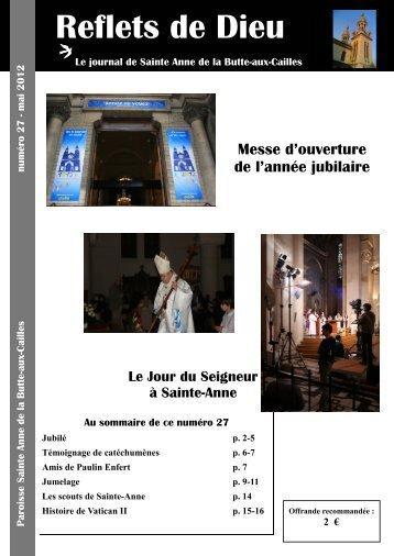 Reflets 27 - Paroisse Sainte-Anne de la Butte-aux-Cailles