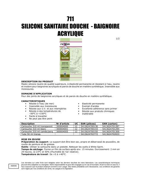 711 Silicone Sanitaire Douche Baignoire Acrylique Horus