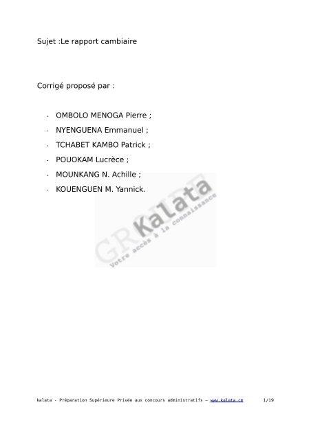 Sujet Le Rapport Cambiaire Corrige Propose Par Ombolo Kalata