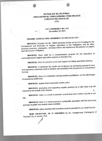 City Ordinance No. 572 - Bacolod City