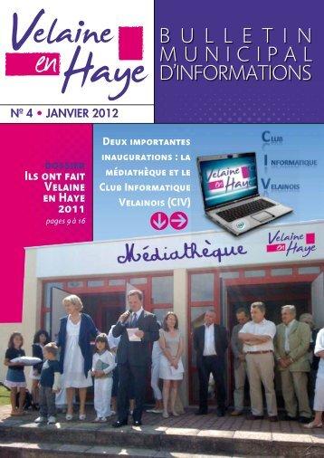 Bulletin Municipal de Janvier 2012 - Velaine en Haye