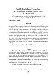 Analisis Kondisi Sosial Ekonomi dan Jaring ... - BAPPEDA Aceh