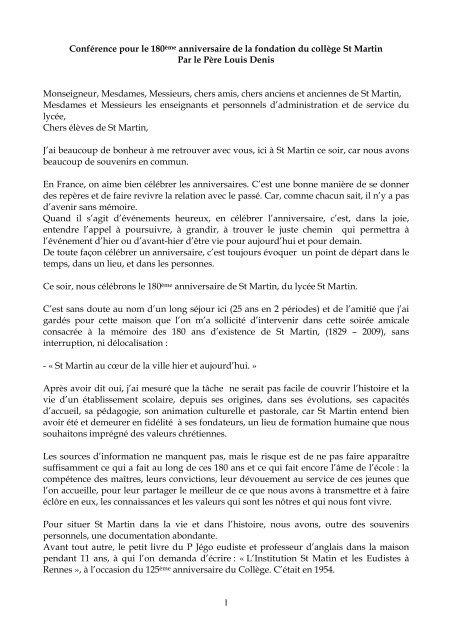 Le Texte De La Conférence Donnée Par Le Père Denis Lycée