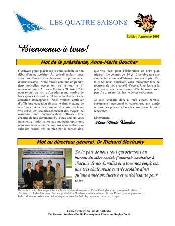 Les Quatre saisons - Édition Automne 2005 - Conseil scolaire du ...