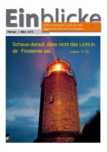 Einblicke Febr / Maerz 2013 - Baptisten-Kirche Dormagen