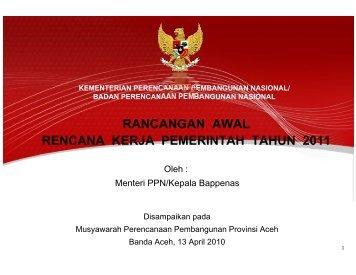 kementerian perencanaan pembangunan nasional - BAPPEDA Aceh