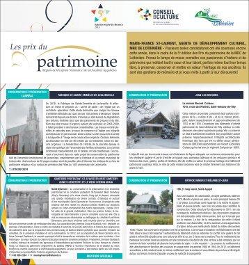 Prix du patrimoine 2013 - MRC Lotbinière