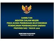sambutan menteri dalam negeri pada acara ... - BAPPEDA Aceh