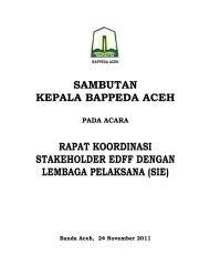 Sambutan Ka.Bappeda Rakor Koordinasi Stakeholder EDFF ...