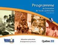 Programme de formation de l'école québécoise - Ministère de l ...