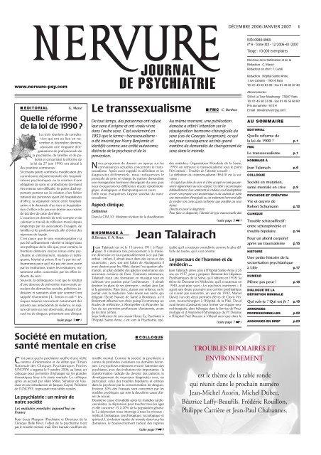 Decembre Nervure Journal De Psychiatrie
