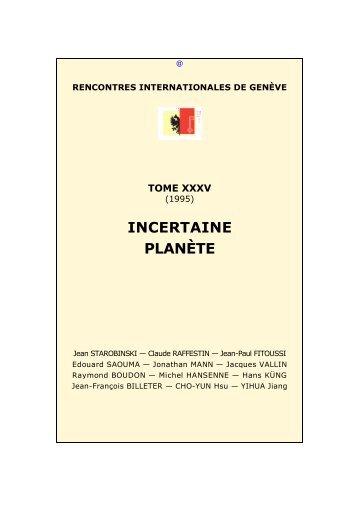 Incertaine Planète - Rencontres Internationales de Genève