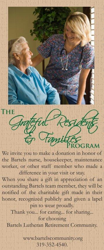 Grateful Resident Pledge Card - Bartels Retirement Community