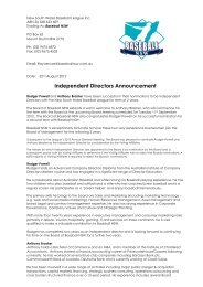 Memo From Ray Vercoe re Independent Director Announcement