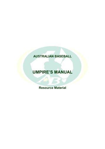 UMPIRE'S MANUAL - Australian Baseball Federation
