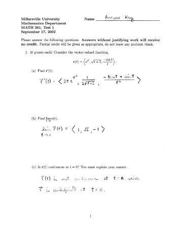 Answer Key - Millersville University