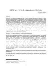 L'OMC face à la crise des négociations multilatérales. - Base ...