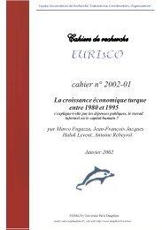 cahier n° 2002-01 - Base Institutionnelle de Recherche de l ...