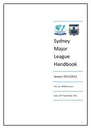 Sydney Major League Handbook - State Baseball League