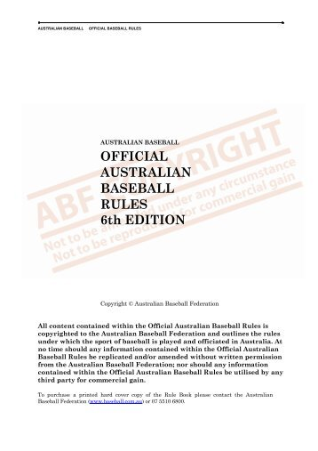 OFFICIAL AUSTRALIAN BASEBALL RULES 6th EDITION