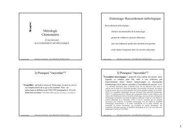 Métrologie Chimiométrie Etalonnage–Raccordement métrologique I ...