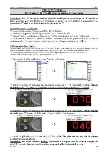 Page 1 Sciences : Fiche méthode ExAO dosage pH-métrique 2nde ...