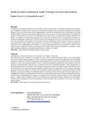 Qualité de l'audit et Satisfaction de l'audité - Base Institutionnelle de ...