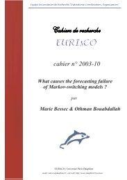 cahier n° 2003-10 - Base Institutionnelle de Recherche de l ...