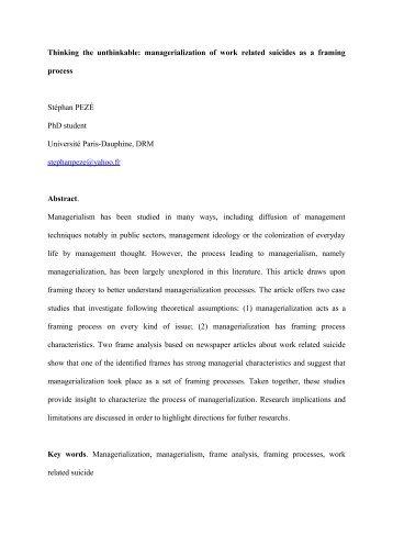 Managerialization as framing process - Université Paris-Dauphine