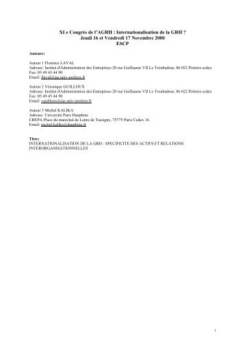 Internationalisation de la GRH - Base Institutionnelle de Recherche ...