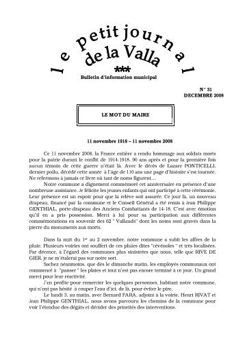 Bulletin d'information municipal N° 31 ... - La Valla en Gier
