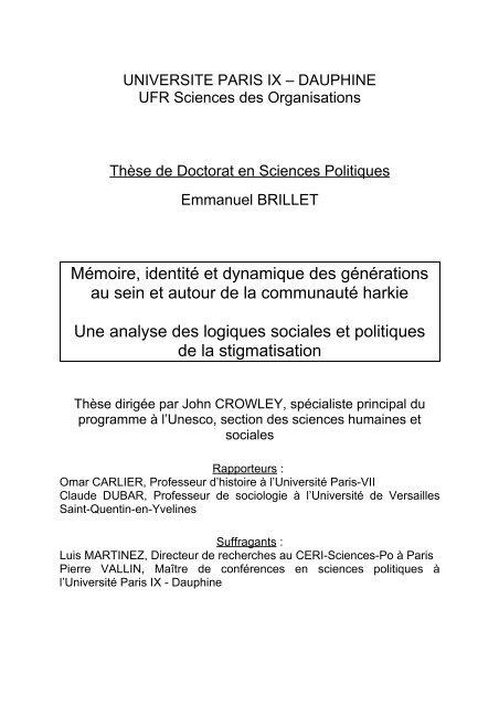 UNIVERSITE PARIS IX – DAUPHINE - Base Institutionnelle de ...