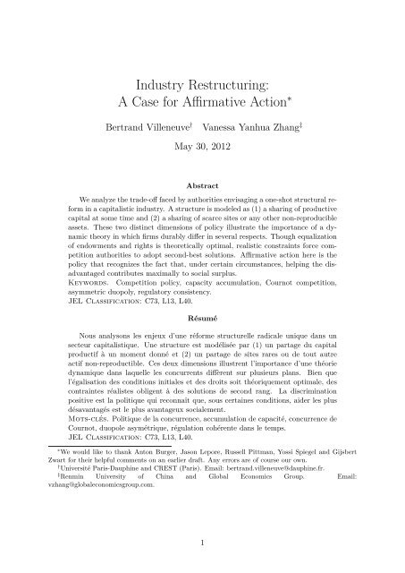 Merger Remedies and Industry Restructuring: A Case for Affirmative ...