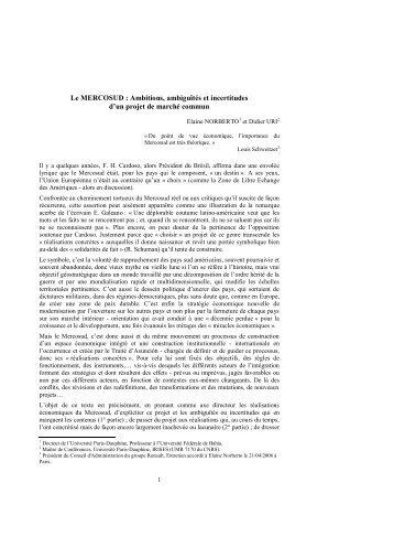 Le MERCOSUD : Ambitions, ambiguïtés et incertitudes d'un projet ...